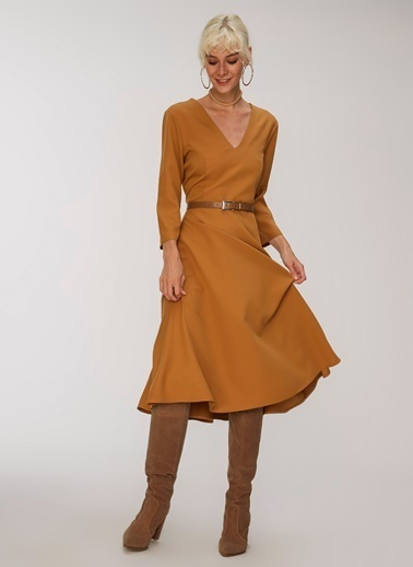 People By Fabrika Midi Elbise Camel